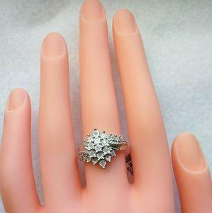 Genuine White Diamond .925 SS Cluster Ring
